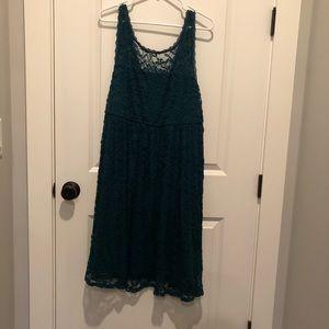 Dark Teal Lace Deep V in Back Torrid Dress NWT